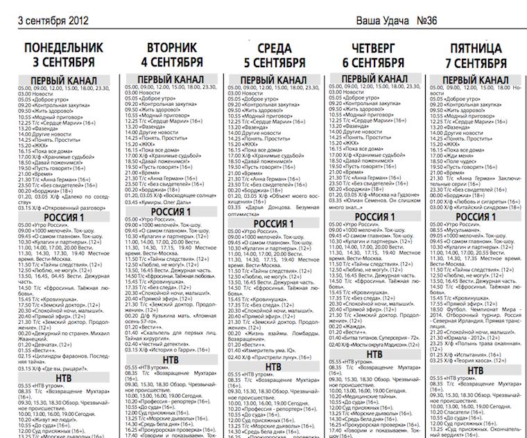 """Фрагмент телепрограммы из газеты """"Ваша Удача"""""""